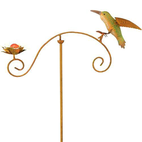 Red Carpet Studios 34207 42-Inch Balancing Buddies Yard Art, Hummingbird with Flower