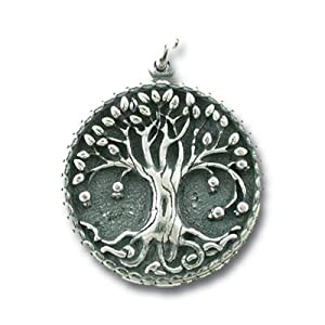 very detailed round tree of life sterling silver pendant for men or women