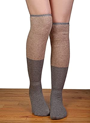 SO-121-4560 Two Tone Over The Knee Socks - Taupe/Beige