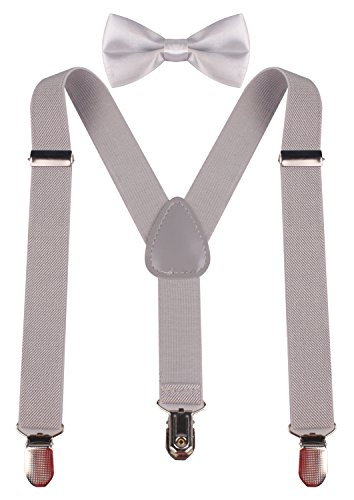 pzle toddler light grey suspenders kids bow tie 22 inches