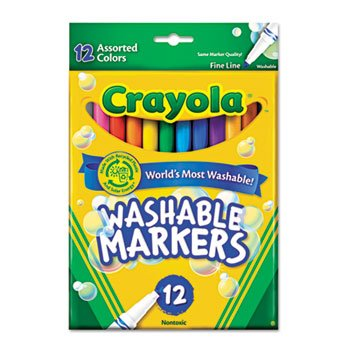 6 Pack Washable Markers, Fine Point, Classic Colors, 12/Set by Crayola. (Catalog Category: Paper, Pens & Desk Supplies / Art & Drafting)