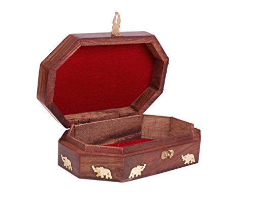 Mothers Day Gifts Majestic Wooden Jewelry Box Organizer Keepsake Storage Chest Hand Carved with Elephant Brass Inlay