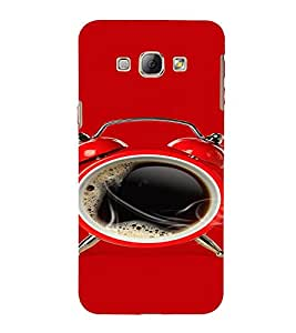 PrintVisa Black Coffee Alarm Design 3D Hard Polycarbonate Designer Back Case Cover for Samsung Galaxy A8