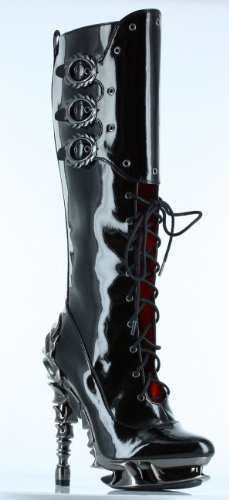 Hades Hyperion Patent Leather Plaform Knee High Boots-Black, 6
