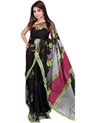 Exotic India Black Sari With Woven Flowers And Plain Border - Black