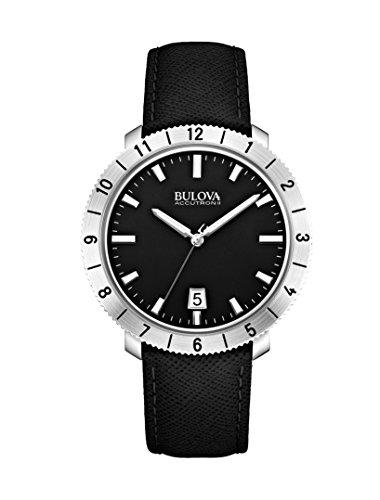 Bulova - 96B205 - Moonview - Montre Mixte - Quartz Analogique - Cadran Noir - Bracelet Cuir Noir