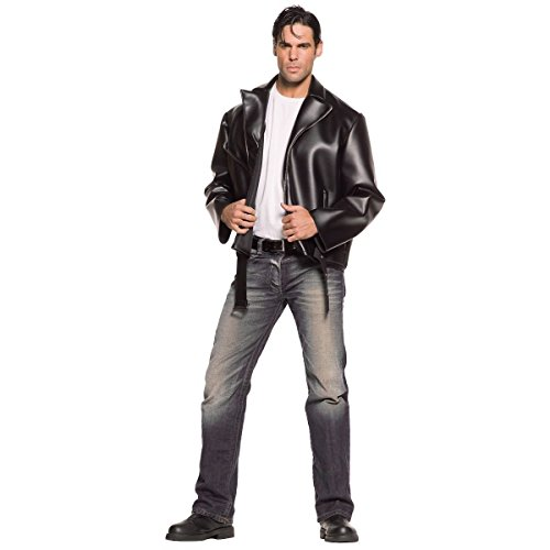 [GSG Greaser Costume 50s Rockabilly Black Motorcycle Jacket Halloween Fancy Dress] (Greaser Outfit)
