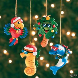 #!Cheap 4 Tropical CHRISTMAS ORNAMENTS/DOLPHIN/Parrot/SEAHORSE/Palm Tree/LUAU PARTY DECOR/HOLIDAY