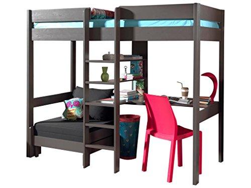Emob Lit mezzanine Lena avec canapé-lit - taupe