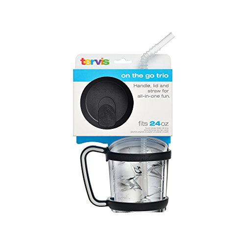 Tervis Accessory Bundle, 24 oz, Black, Travel Lid, Straw, Handle, Black (Tervis Tumbler Lids Pack compare prices)