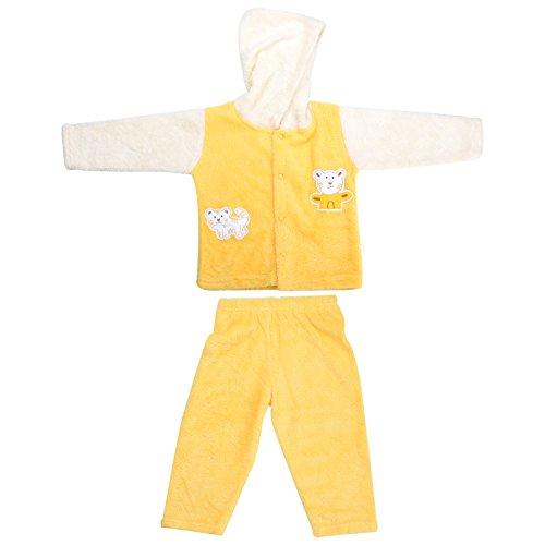 kandyfloss Kandy Floss Yellow & Cream Fur Hood Jacket with Pant for Kid