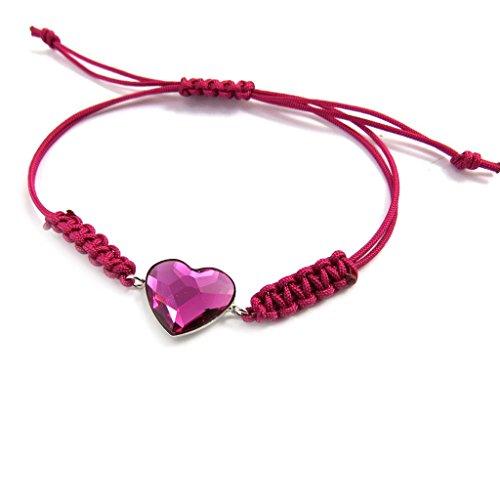 Silber-armband 'Love'fuschia (swarovski