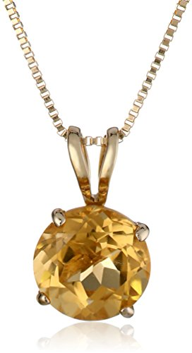 14k Yellow Gold 6mm Round-Cut Citrine 4-Prong Pendant, 18""