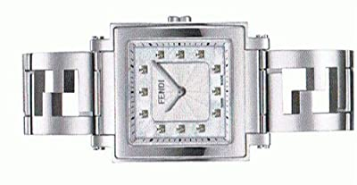 FENDI Quadro Collection MOP Diamond Dial Womans Steel WATCH F605034000b0