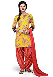 Vastra Vinod Yellow Rayon Readymade Patiala Suit