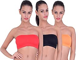 PIFTIF seamless non padded non wire strapless bandeau full side covrage tube bra for women's and girl s fit size ( 28 in to 36 in) BLACK RED ORANGE