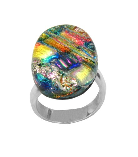Sterling Silver Dichroic Glass Multi-Color Pastel Oval-Shaped Ring, Size 7.5