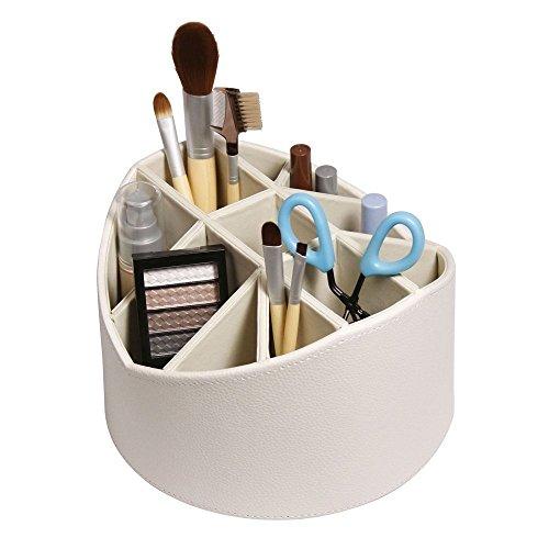 Cream Desk Organizer Make Up Brush Holder Rotating Storage Caddy