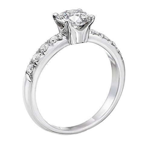 14K White Gold Brilliant Round Cut Diamond Engagement Ring (0.90 cttw, J-K Color, I1-I2 Clarity) - Size 8