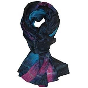 LibbySue-Silk Rainbow Scarf Shawl with Tiny Pearl Beaded Florettes (Navy Blue Teals)