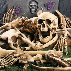 DELUXE HALLOWEEN BAG OF SKELETON BONES - FULL 28 PIECE SET - PERFECT FOR A HALLOWEEN GRAVEYARD or HAUNTED HOUSE