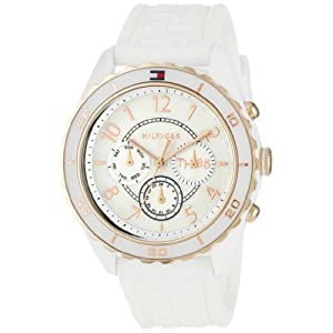 Tommy Hilfiger Women's 1781079 Sport White and Rose Gold Plated Silicon Watch
