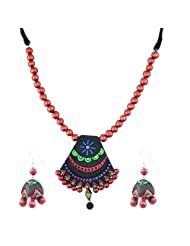 "ARTWOOD ""Clay-beded Jhumka Ghira"" 3-piece Terracotta Jewellery Set"