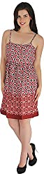 Holidae Women's Printed Midi Spagetti Dress (Hi-dr-md-110_XS, Maroon, XS)