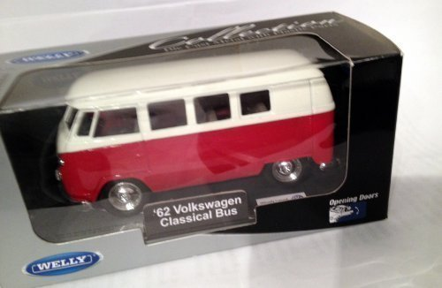Welly Die-Cast Collectable -1962 Volkswagen VW Classical Bus/Van-White/Red New Sealed