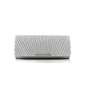 Scarleton Satin Flap Clutch With Crystals H301717 - Silver