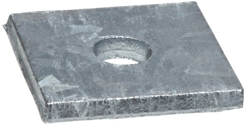 "Square Flat Washer, Soft Steel, Galvanized, Square Shape, USA Made, 0.813"" ID, 3.000"" OD, 0.188"" Thick (Pack of 1)"