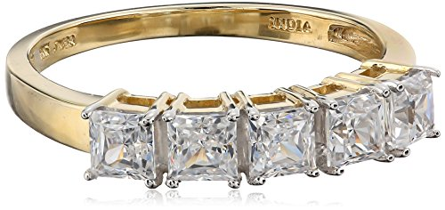 10k Yellow Gold Five Stone Square Ring Made with Swarovski Zirconia (1 1/4 cttw), Size 7
