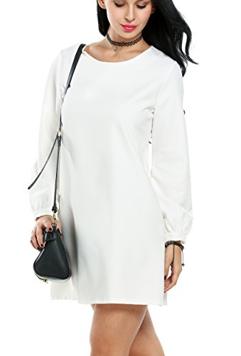ACEVOG Women's Plain Long Sleeve Shift Dress (Medium, White)