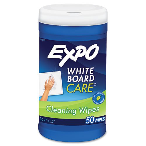 EXPO Products - EXPO - Dry Erase Board Cleaning Wet Wipes, 6 x 9, 50/Container - Sold As 1 Each - Combines liquid cleaner with a disposable wipe for smooth, convenient cleaning. - Removes ghosting and stubborn marker ink from most dry erase surfaces. - Nontoxic cleaner is perfect for classroom use. - Pop up container with freshness seal keeps wipes moist. -