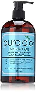 pura d'or Argan Oil Premium Organic Shampoo Scalp and Dandruff Treatment, 16 Ounce