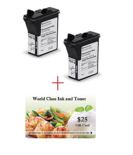 Dual-Pack of Genuine Original Pitney Bowes Brand 797-0 Fluorescent Red Ink Cartridges for: MailStation/K700/K705 Postage Machines + a FREE $25 Restaurant Gift Certificate. (Pitney Bowes Postage Machine Ink compare prices)