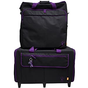 Hemline XXL Trolley & Embroidery Bag Set in Black with Purple Trim from Hemline