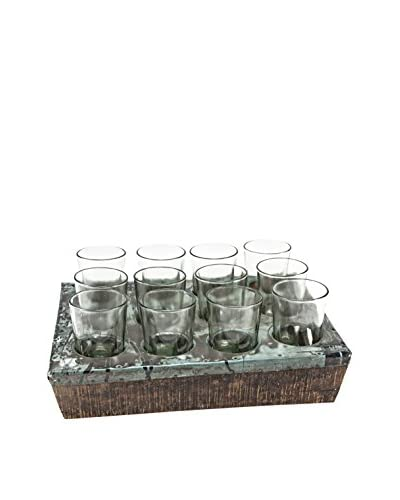 Bambeco Recycled Metal 12-Glass Tea Service Tray, Grey
