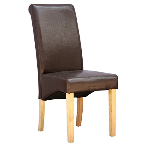 deluxe-supreme-bonded-leather-dining-chair-roll-top-high-back-oak-wood-legs-brown-
