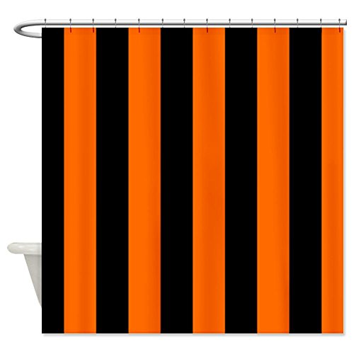 Vertical Stripes - Black/Orange Shower Curtain - Standard White