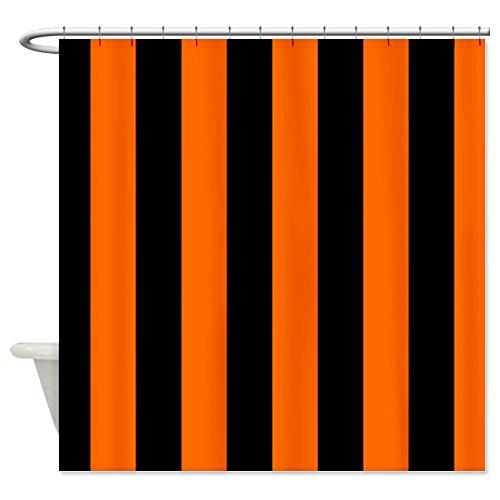 Vertical Stripes - Black/Orange Shower Curtain - Standard White