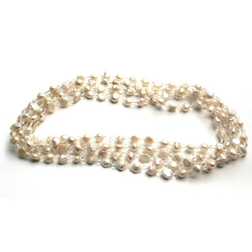 58 Inch Long Strand Real Freshwater Cultured White Button Pearl Necklace