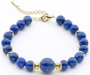 Lapis Lazuli Bracelet With 12mm Semi-Precious Stones And Gold-Plated Beads & Fittings
