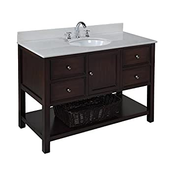 Perfect New Yorker inch Bathroom Vanity White Chocolate Includes Chocolate Cabinet with Soft Close Drawers White Marble Countertop and White Ceramic Sink