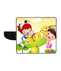 KolorEdge Printed Flip Cover For HTC Desire 516 Multicolor - (50KeMLogo09678HTC516)