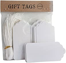 100 White Wedding Scallop Tags  Gift Tag with 100 White Strings