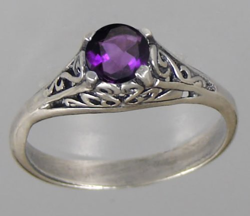 A Lovely Sterling Silver Ring Featuring a Beautiful Faceted Amethyst Gemstone