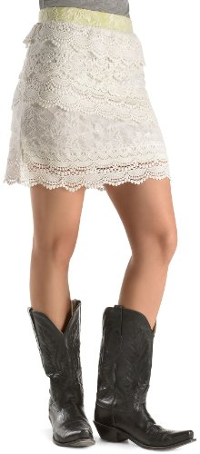 Miss Me Women's Tiered Ivory Lace Skirt