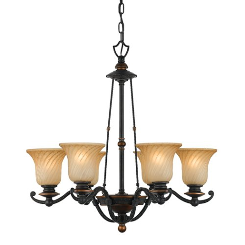 B000J1689M Quoizel GE5006SE Genova 6 Light Chandelier
