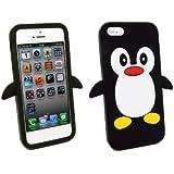 Kit Me Out FR Coque aspect velouté silicone pour Apple iPhone 5 / 5S - noir, blanc motif pingouin mignon